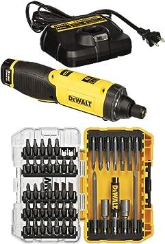 DEWALT DCF682N1 8V MAX Gyroscopic Inline Screwdriver with DEWALT DW2166 45 Piece Screwdriving Set with Tough Case