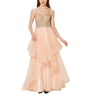 New Vogue Womens Sexy embroidery applique Prom Dresses Long Asymmetric Layered Tulle Formal Prom Gowns