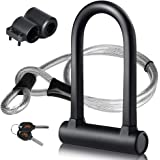 DINOKA Bike U Lock - 16mm Heavy Duty Security U Cable Bike Lock with 4ft Flex Bike Cable and Sturdy Mounting Bracket for Road