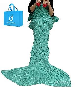 Meerjungfrau Decke Am Seablue Handgemachte Häkeln Meerjungfrau