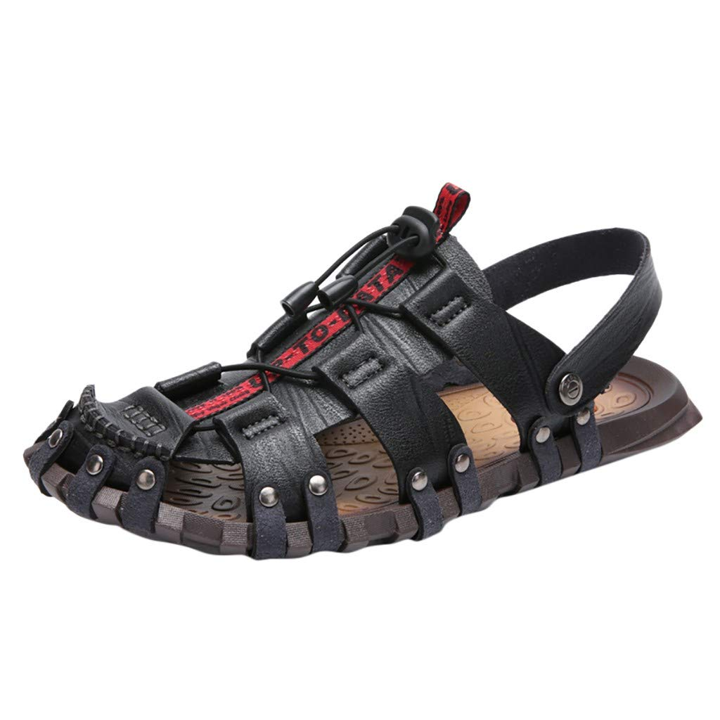 Sandals Fishermen Outdoor Closed Toe Sandals for Men Outdoor Hiking Breathable Sport Athletic Fishermen Shoes (US:8.5, Black) by Yihaojia Men Shoes