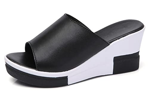 012c925ef Women Sandals 2018 Summer Genuine Leather Shoes Woman Flip Flops Wedges  Fashion Platform Female Slides Ladies Shoes Peep Toe Black 9  Amazon.co.uk   Shoes   ...