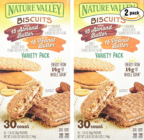 Nature Valley Sandwich Biscuit with Almond Butter or Peanut Butter, Variety Pack, 30 Count (Pack of 2, Total of 60 Ct)