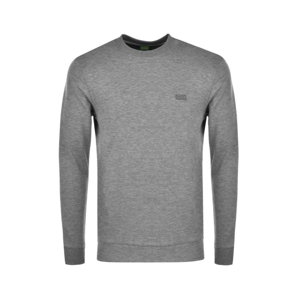 Hugo Boss Green Salbo Regular Fit Grey Cotton Sweatshirt 50373714