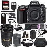 Nikon D750 DSLR Camera (Body Only) + Nikon AF-S NIKKOR 24-70mm f/2.8G ED Lens + 77mm 3 Piece Filter Set (UV, CPL, FL) + Battery + Sony 64GB SDXC Card + HDMI Cable + Remote + Card Reader + Flash Bundle For Sale