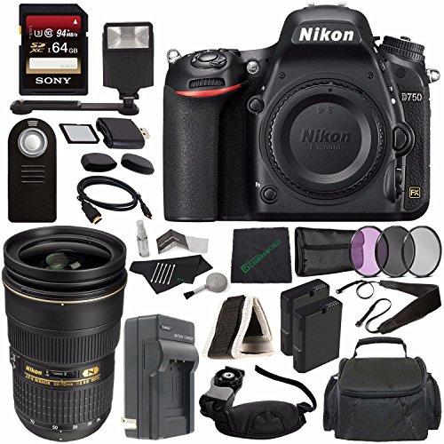 Nikon D750 DSLR Camera (Body Only) + Nikon AF-S NIKKOR 24-70mm f/2.8G ED Lens + 77mm 3 Piece Filter Set (UV, CPL, FL) + Battery + Sony 64GB SDXC Card + HDMI Cable + Remote + Card Reader + Flash Bundle