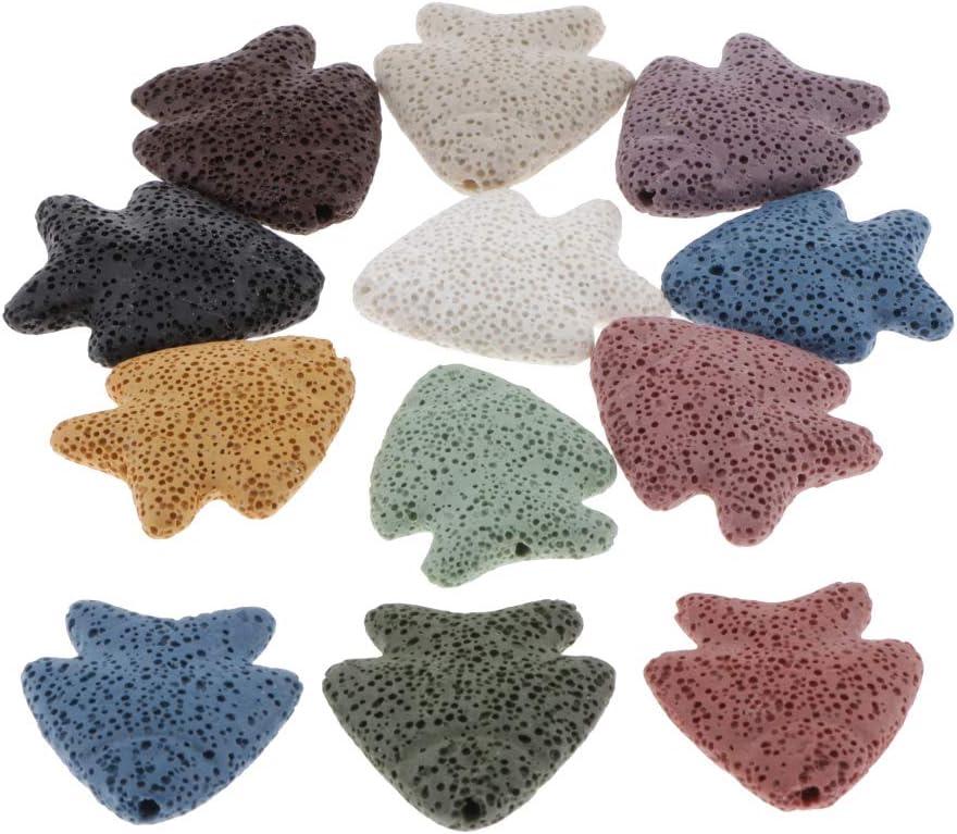 Baoblaze Varios Granos De Lava De Piedras Preciosas Naturales Perlas Sueltas De Piedra De Cuarzo - Multicolor, 38x32mm 12 Piezas