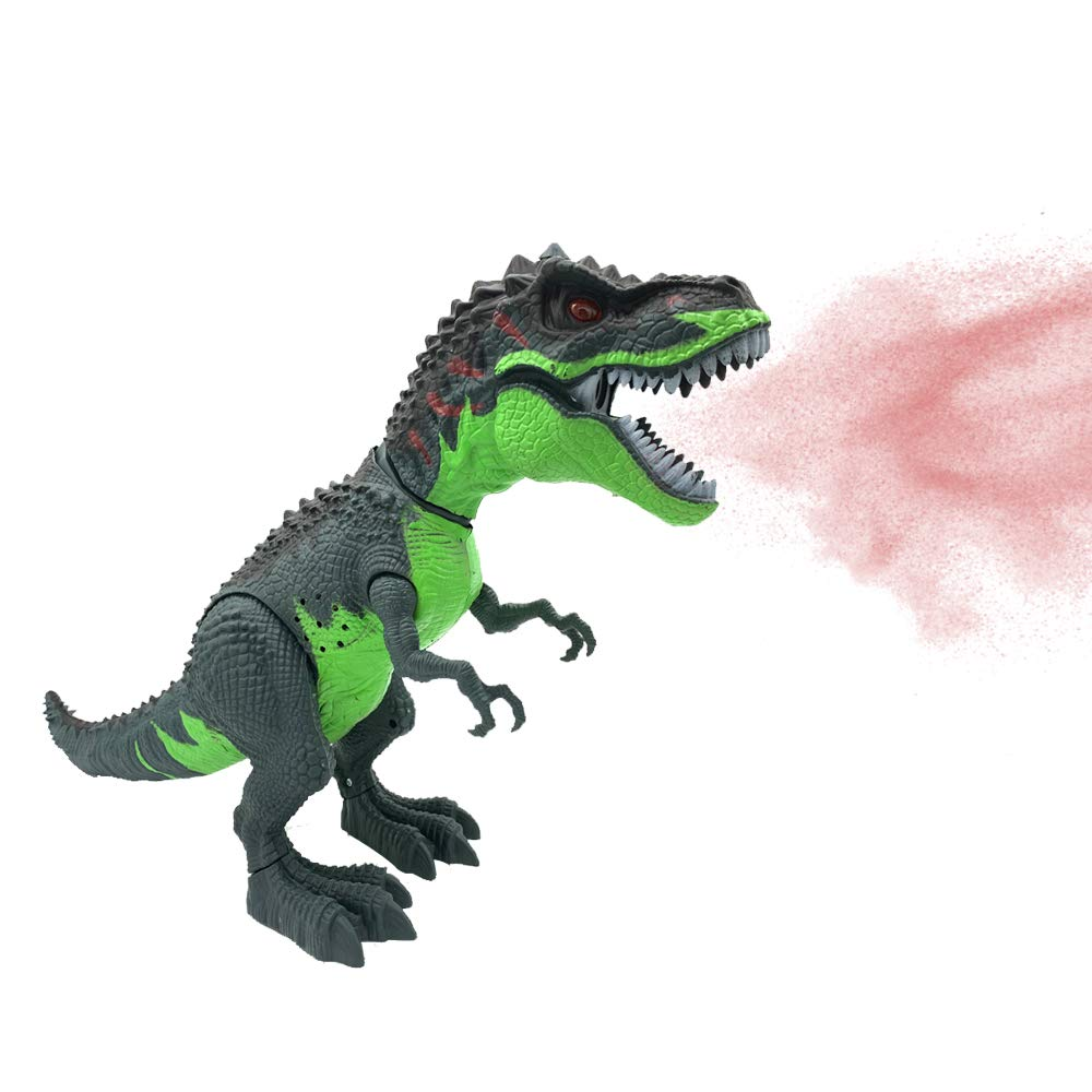 SEOINS T-Rex Walking Dinosaur Toy with Spray Water Mist,Realistic Roar and Ligh,Dinosaur Toy for Kids(Green)