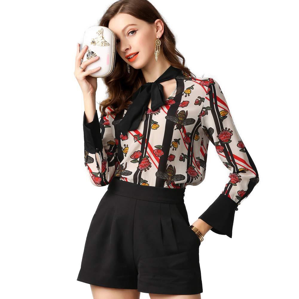 LOUESHOW Fashion Women Clothing V-Neck Horn Long-Sleeved Blouse