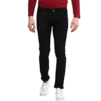 Urbano Fashion Men's Black Slim Fit Stretch Jeans Men's Jeans at amazon