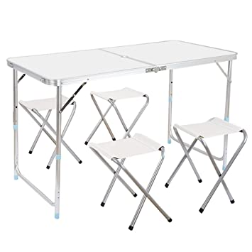 Genial Finether Portable Folding Table Sturdy And Lightweight Steel Frame Legs  With 4 Folding Chairs, 4