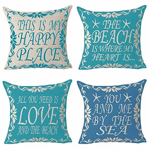 Set of 4 Summer Words All You Need Is Love And The Beach You And Me By The Sea Pattern Blue Starfish Lace Pillows Cotton Linen Decorative Home Office Throw Pillow Case Couch Cushion Cover 18X18 inches (Me You And Cushion The Sea)