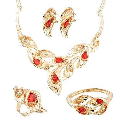 Brautschmuck armband blumen  Damen Frauen Blumen Schmuck Set Blätter Halskette Armband Ring ...