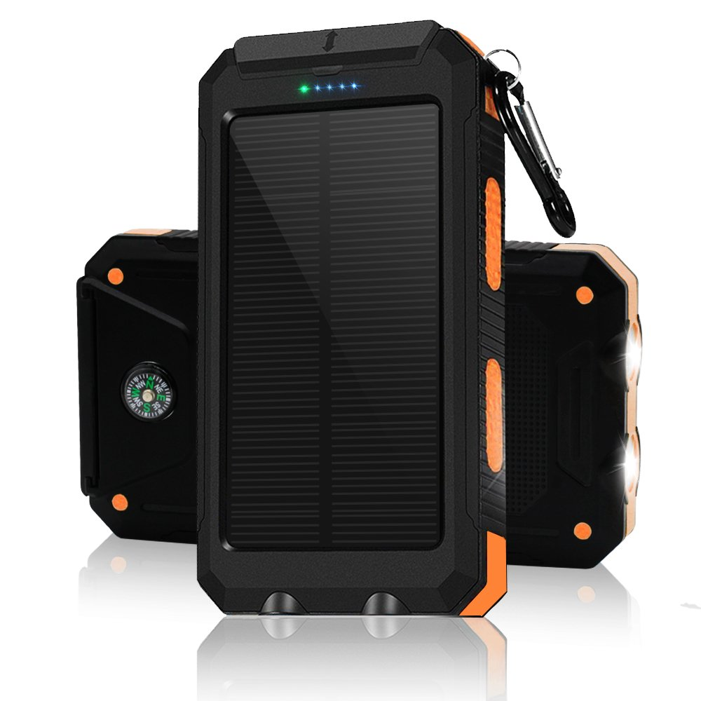 Solar Charger Solar Power Bank 10000mAh External Backup Battery Pack Dual USB Solar Panel Charger with 2LED Light Carabiner Compass Portable for Emergency Outdoor Camping Trave (orange)