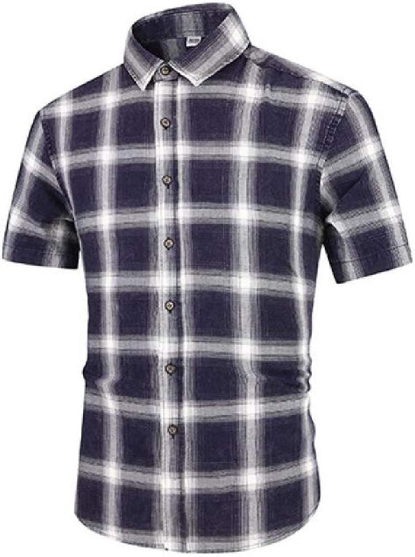 Jofemuho Mens Summer Short Sleeve Cotton Slim Fit Plaid Button Down Dress Shirt