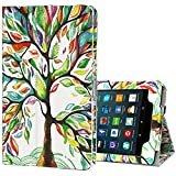 Benazcap for Kindle Fire 7 Case 2019 All-New Tablet Case Folio Stand Smart Cover for Amazon Kindle Fire 7-inch Tablet 9th Generation 2019 with Auto Sleep/Wake, Lucky Tree