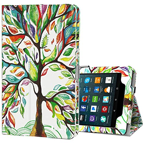 Benazcap for Kindle Fire 7 Case 2019 All-New Tablet Case Folio Stand Smart Cover for Amazon Kindle Fire 7-inch Tablet 9th Generation 2019 with Auto Sleep/Wake, Lucky Tree (Kindle Case For 7 Inch Tablet)