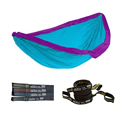 Double Lightweight Hammock with Tree Straps Parachute Nylon 2 Person Bed Backyard Portable Travel Survival Backpacking Indoor Outdoor (Blue/w Yellow Strap) : Garden & Outdoor