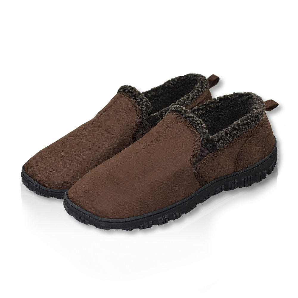 LA PLAGE Men's Anti-Slip Indoor/Outdoor House Slippers with Hardsole Size 11 US Brown by LA PLAGE (Image #1)