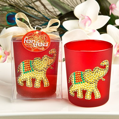Ruby Red Good Luck Elephant Votive Candle (Ruby Red Candlestick)