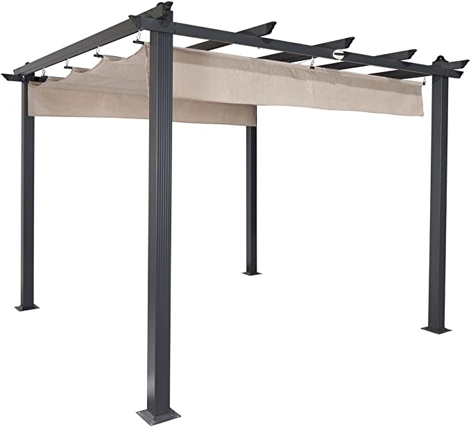 "Coolaroo Aurora Pergola, Backyard Shade Pergola, (9'8"" X 9'8""), Smoke - Best for Design"