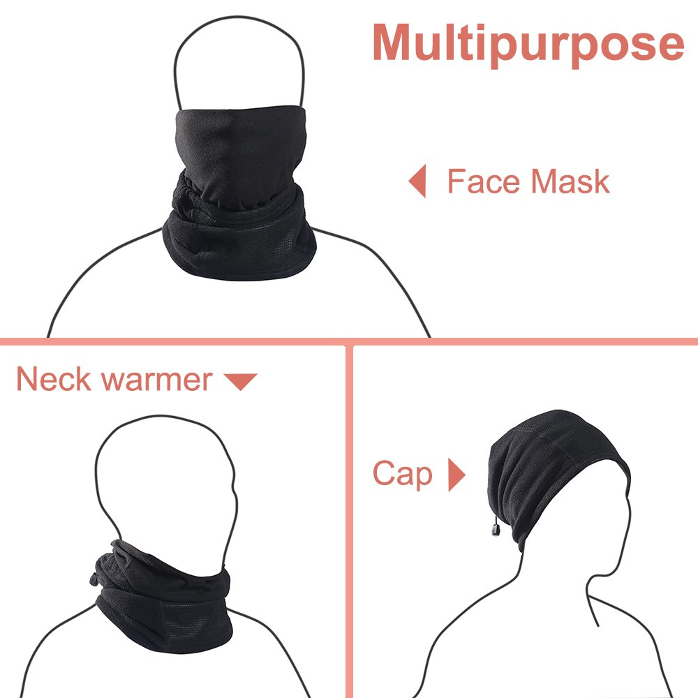 Magarrow Unisex Neck Warmer Winter Windproof Mouth Face Mask Outdoor Sports Neck Warmer Black