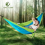 ALPHA CAMP Double Camping Hammock Parachute Hammock with Tree Straps Ultralight Portable for Backpacking Travel Hiking Beach Yard, Blue