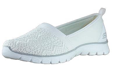 Skechers 23422/WHT EZ Flex 3.0-Duches Damen Sneaker Slipper Weiß, Größe:40, Farbe:Weiß