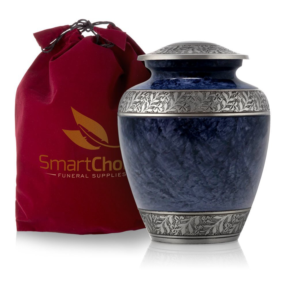 SmartChoice Royal Cremation Urn for Human Ashes - Affordable Funeral Urn Adult Urn for Ashes Handcrafted Urn (Light Blue) by SmartChoice