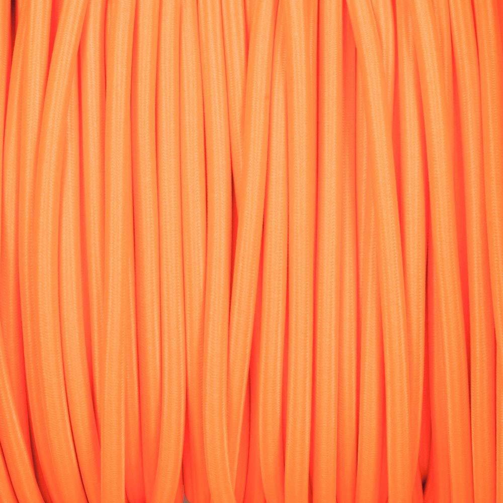 C/âble /électrique flexible 2 conducteurs de 10 m/ètres de long en tissu tress/é de couleur orange vintage