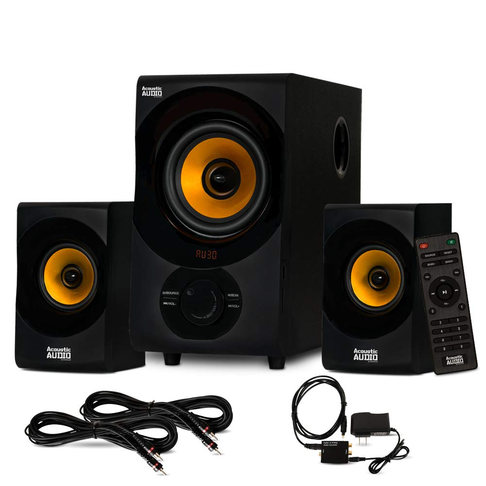 Acoustic Audio AA2170 Bluetooth 2.1 Home Speaker System with Optical Input and 2 Extension Cables