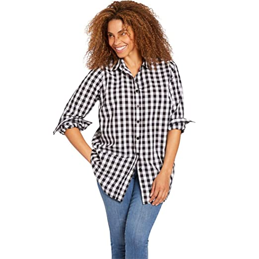 7a212f9865d8d5 Image Unavailable. Image not available for. Color: Woman Within Plus Size  Perfect Button Down Shirt - Black White ...