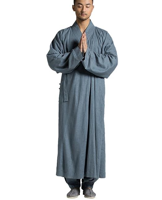 Katuo Hombres de largo vestidos de novia tradicional Vintage Monk Robe azul gris S-3