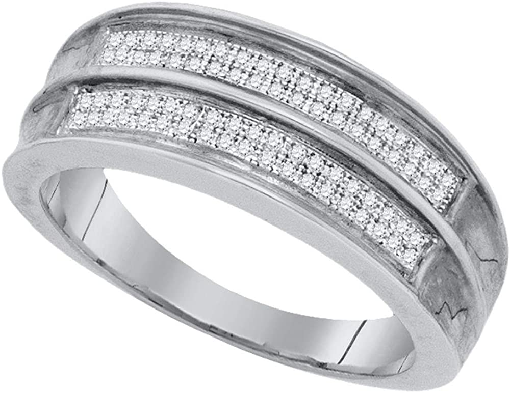 Jewels By Lux Sterling Silver Mens Round Pave-Set Diamond Wedding Band Ring 1//4 Cttw Ring Size 8.5