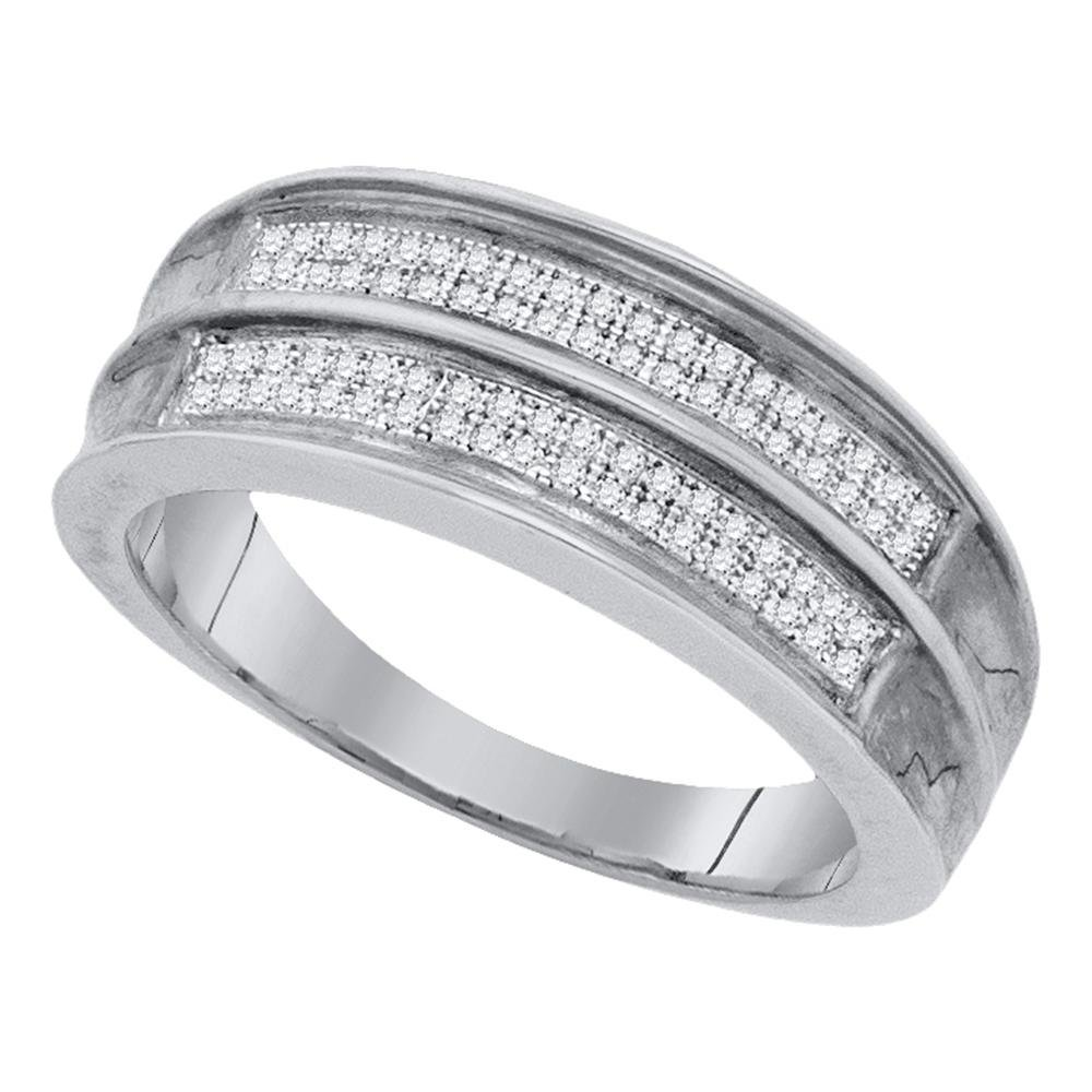 Sterling Silver Mens Round Pave-set Diamond Wedding Band Ring 1//4 Cttw