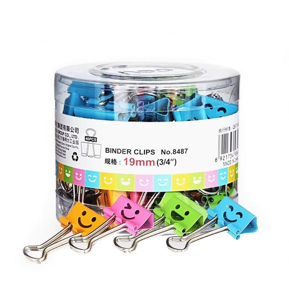 Nuolux raccoglitori clip metallica smiley colori assortiti, confezione da 40