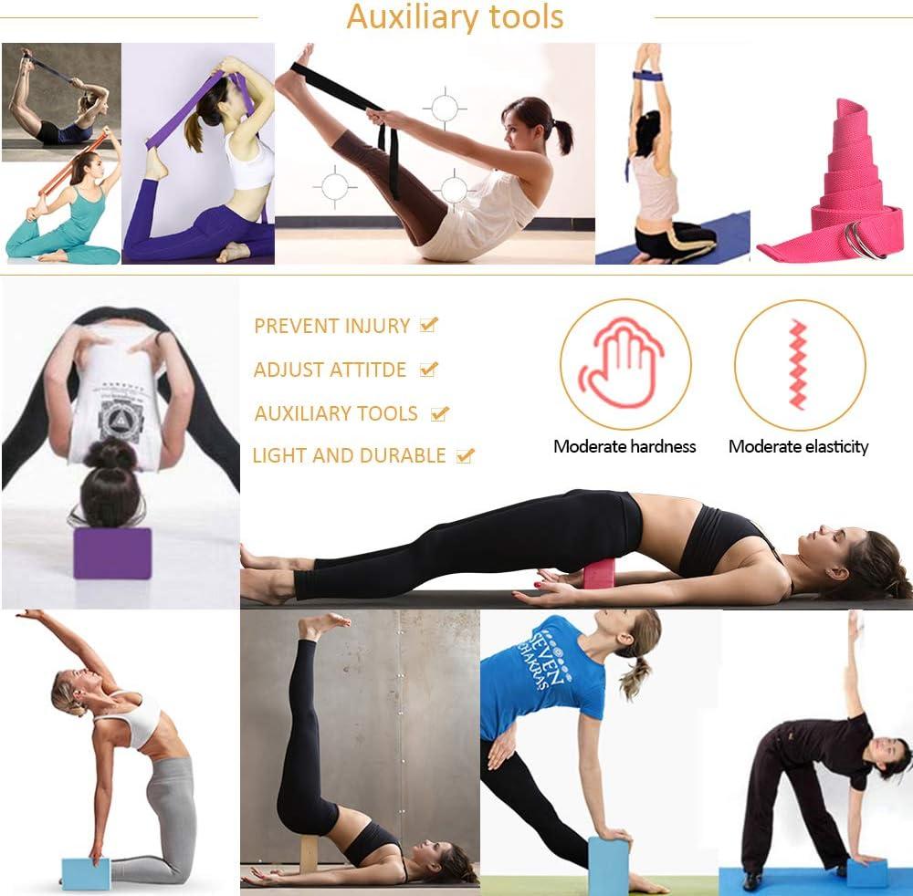 Bloques y Cintur/ón de Yoga Bandas de Ejercicio de Resistencia al Estiramiento DAZISEN Set Yoga
