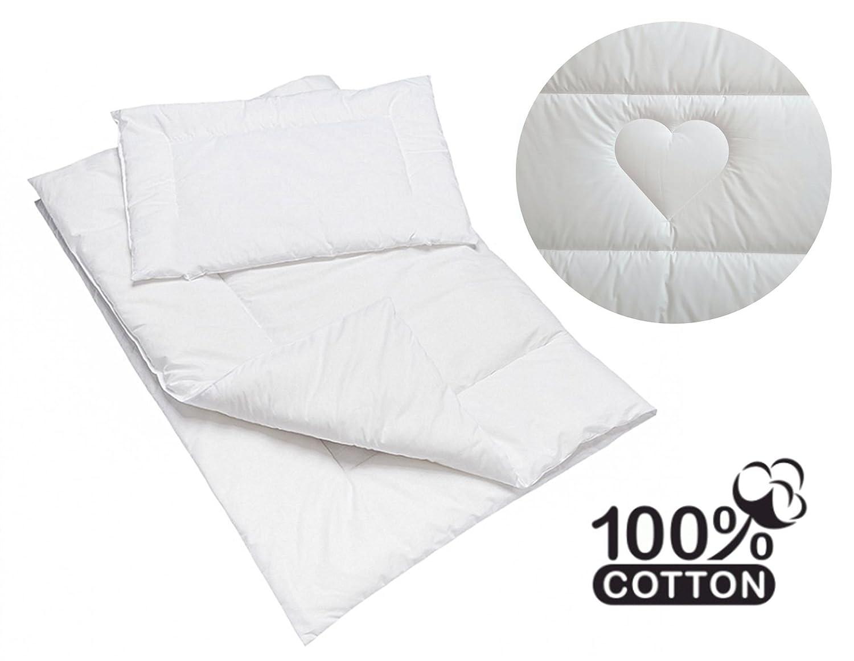 Gesteppt, 100% Baumwolle Bettdecke & Kissen Set 150x 120cm Füllung für Junior Kinderbett Baby Comfort