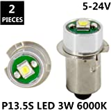 JESLED PR P13.5S 3W 247Lumen DC 5-24V 18 Volt CREE LED Upgrade Bulb Replacement For DEWALT Flashlight Torch Tooling Lantern Work Light Maglite LED Conversion Kit (2-Pack)