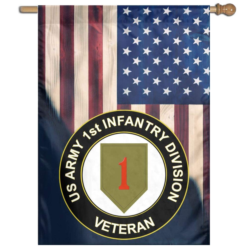 "FLAGERLIN US Army Veteran 1st Infantry Division Flag Outdoor Patio Seasonal Holiday 27""x37"" Family Flag"