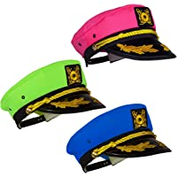 Tigerdoe Yacht Hats - 3 Pack - Captains Hat - Neon Captain Hat - Boaters Hats - Costume Hats - Novelty Hats