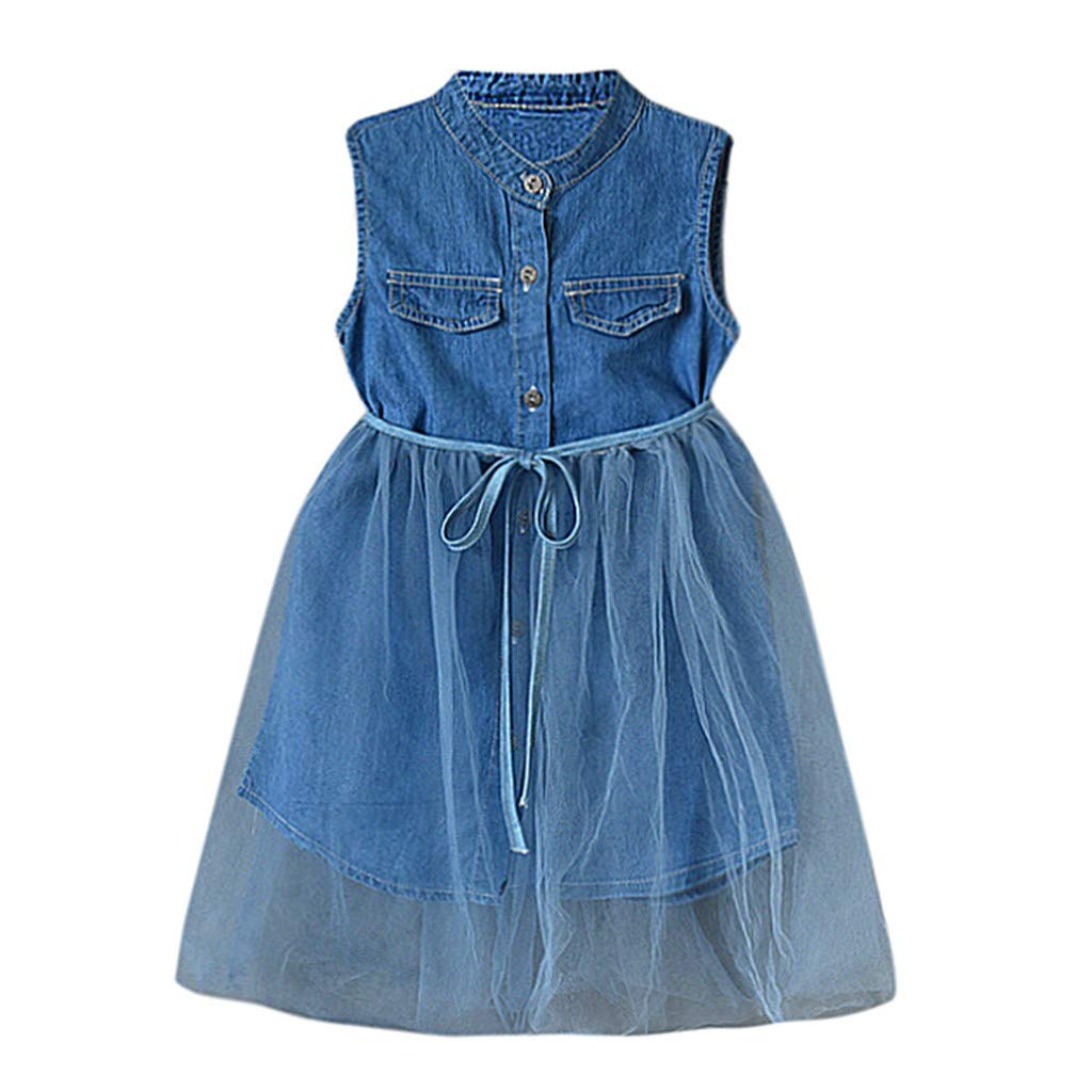 GorNorriss Baby Dress Toddler Girls Kid Denim Sleeveless Patchwork Lace Dress Outfits