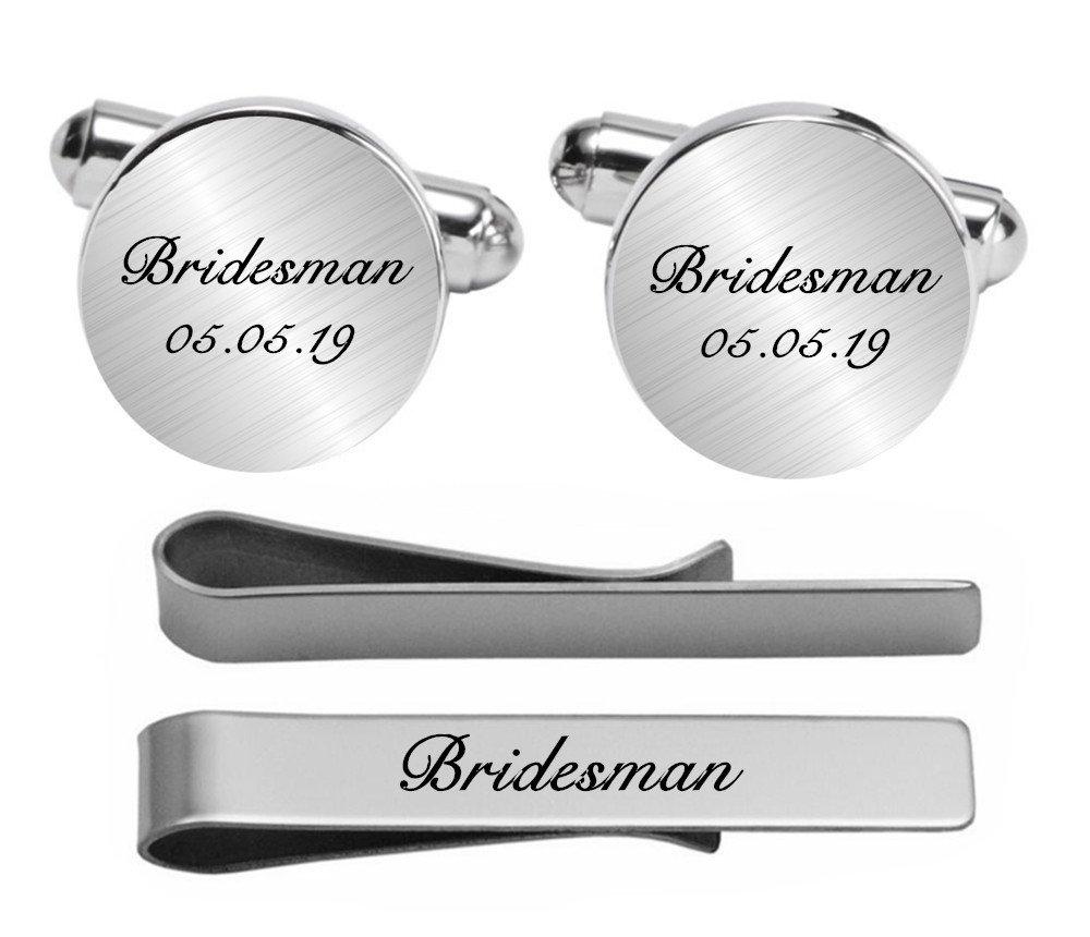 Kooer Engraved Cuff Links For Bridesman Custom Personalized Cuff Links Vintage Handmade Wedding Jewelry (Silver plated cufflinks & tie clip set)