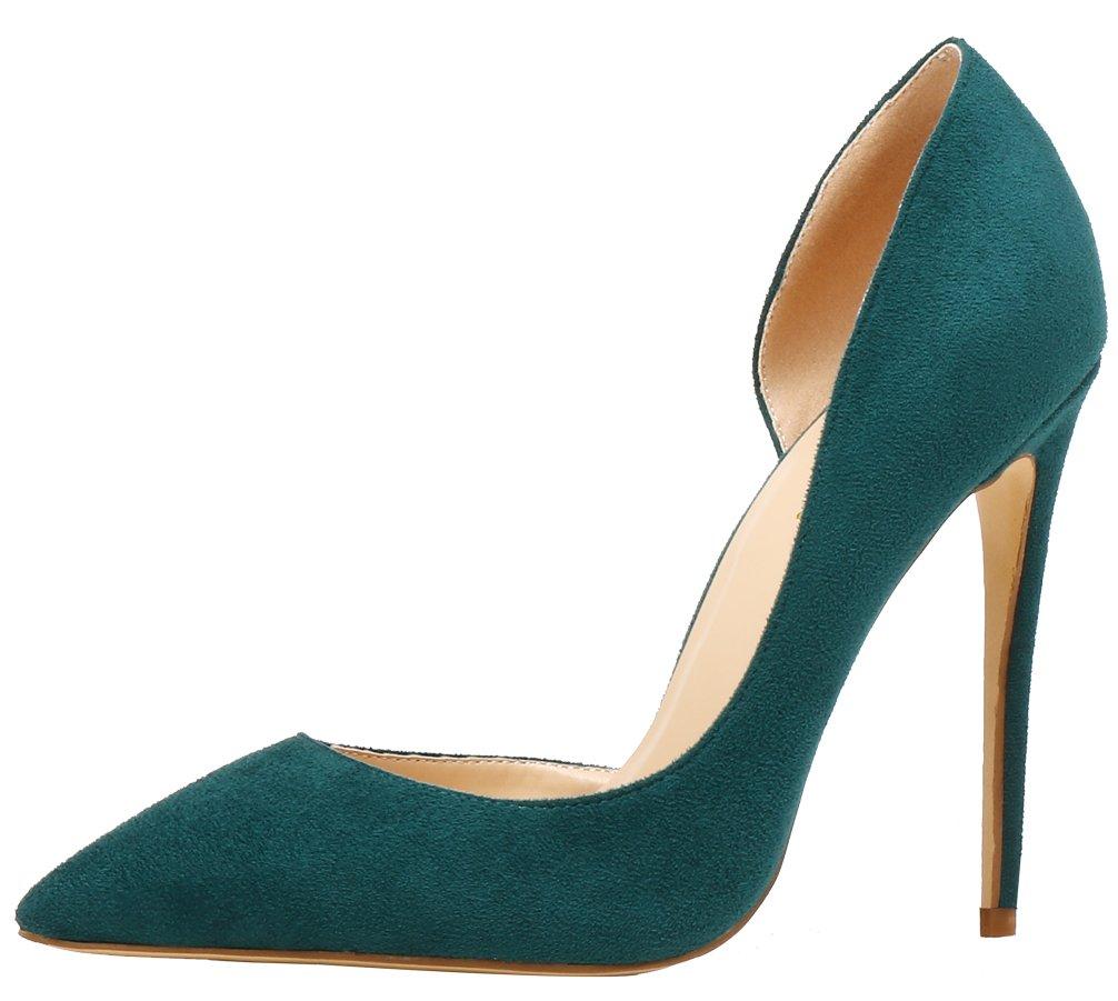 AOOAR AP37 - Zapatos de Vestir de Sintético para Mujer 38 EU|Dunkelgrün/Wildleder