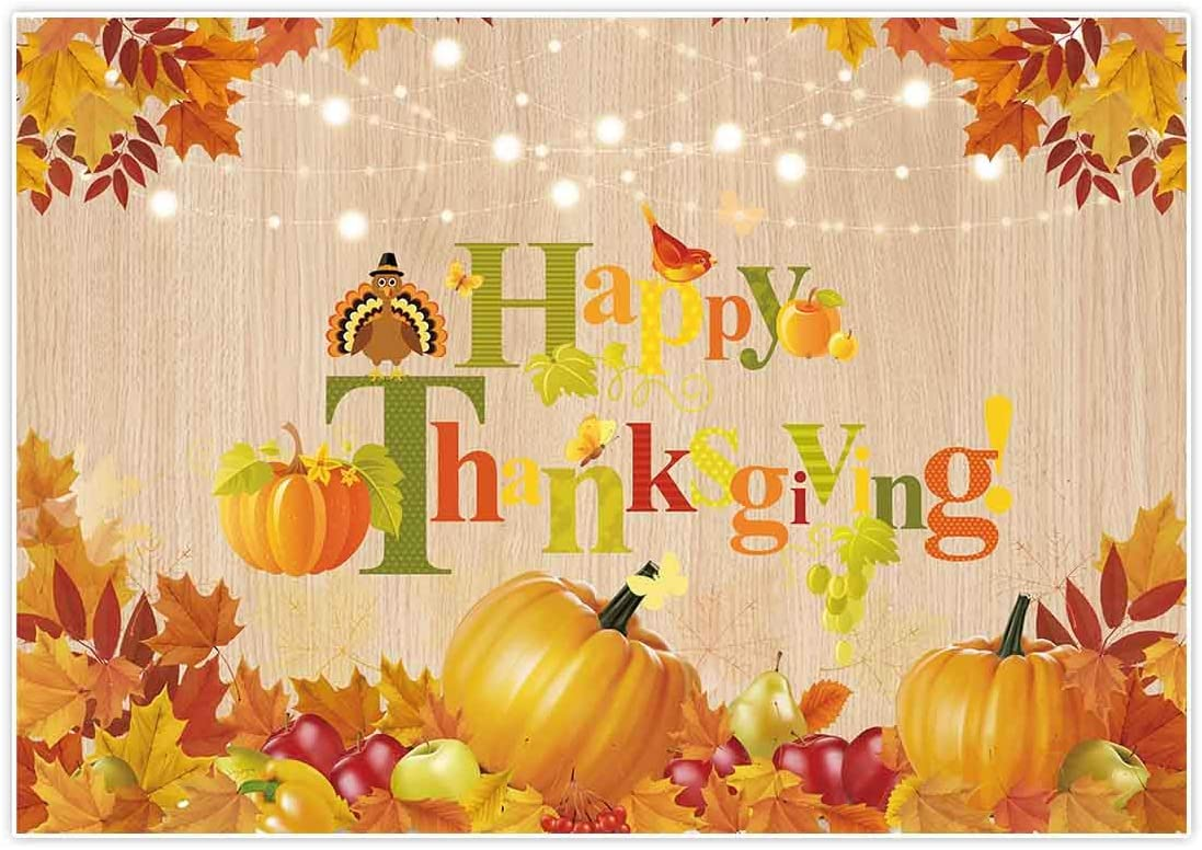 OERJU 10x8ft Happy Harvest Backdrop Maple Leaves Pumpkin Hay Stack Fruits Photography Background Thanks Giving Day Decora Boys Girls Children Adults Portrait Photo Studio Props Vinyl Wallpaper