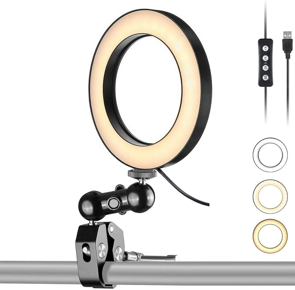 Streaming Light,Portable Ring Light 6'' USB with Clamp Mount for YouTube,Drawing,Calligraphy,Photography,Makeup,Reading - Acetaken
