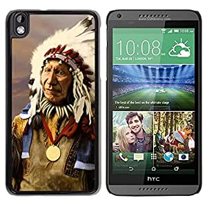 Design for Girls Plastic Cover Case FOR HTC DESIRE 816 Indian Native American Old Man Feathers OBBA
