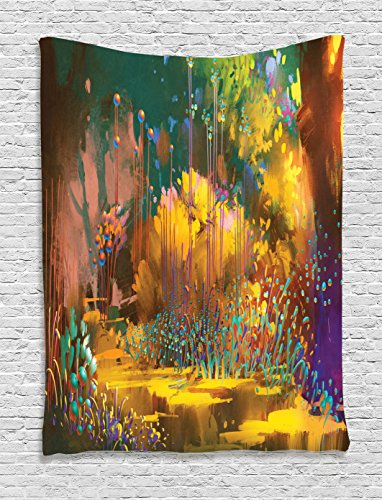 (Fantasy Art House Decor Tapestry by Ambesonne, Imaginary Forest with Psychedelic Feature Effects Fairy Jungle Boho, Wall Hanging for Bedroom Living Room Dorm, 40WX60L Inches, Multi)