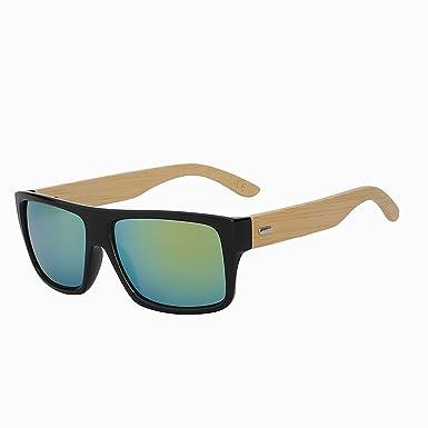 Amazon.com: Xiu parte superior plana bambú anteojos de sol ...