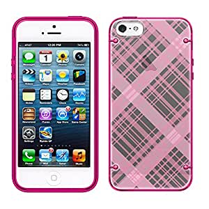 iPhone 6 Plaid Lines Pink on Black See Through Case with Glow Pink Trim